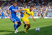 Wycombe Wanderers forward Scott Kashket (11) and Gillingham FC defender Max Ehmer (5) during the EFL Sky Bet League 1 match between Gillingham and Wycombe Wanderers at the MEMS Priestfield Stadium, Gillingham, England on 14 September 2019.