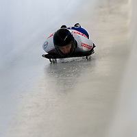 27 February 2007:  Emma Lincoln-Smith of Australia slides through the Chicane in the 3rd run at the Women's Skeleton World Championships competition on February 27 at the Olympic Sports Complex in Lake Placid, NY.