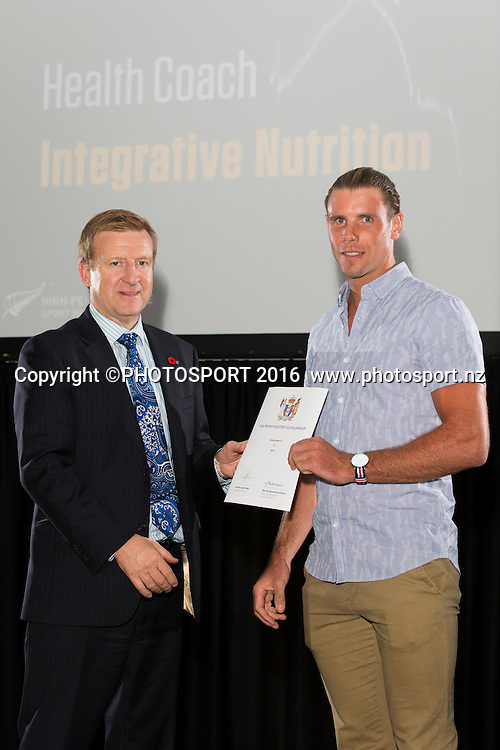 Hon. Jonathan Coleman presents certificate to Rowing Robbie Manson at the High Performance Sport NZ Waikato ceremony for the Prime Minister's Scholarship Awards, at Sir Don Rowlands Centre, Lake Karapiro, Cambridge, New Zealand, 20 April 2016. Copyright Photo: Stephen Barker / www.photosport.nz