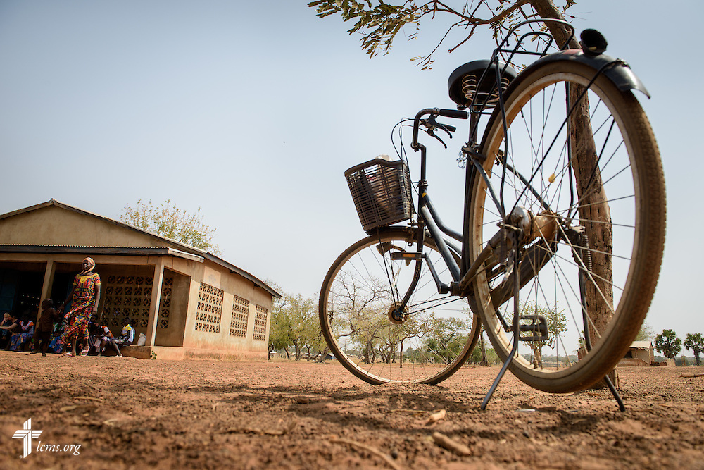 A parked bicycle outside the Lutheran Church of Togo in Mire during worship on Sunday, Feb. 12, 2017, in Mire, Togo. LCMS Communications/Erik M. Lunsford