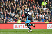 Sheffield Wednesday midfielder Barry Bannan celebrates his second half goal during the Sky Bet Championship match between Derby County and Sheffield Wednesday at the iPro Stadium, Derby, England on 23 April 2016. Photo by Jon Hobley.