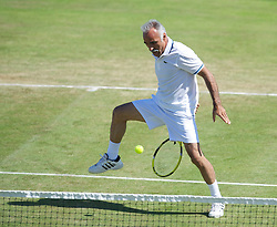 LIVERPOOL, ENGLAND - Sunday, June 19, 2011: Mansour Bahrami (IRN) in action during day four of the Liverpool International Tennis Tournament at Calderstones Park. (Pic by David Rawcliffe/Propaganda)