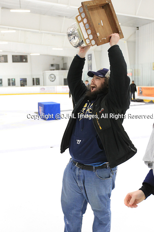 TORONTO, ON - Apr 22, 2015 : Ontario Junior Hockey League game action between the Toronto Patriots and the Kingston Voyageurs. Game seven of the Buckland Cup Championship Series.<br /> (Photo by Tim Bates / OJHL Images)