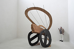 Sculpture Fliegende Lokomotive (Flying Locomotive) by Victoria Bell at Kolumba Museum in Cologne Germany