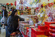 A mother and daughter buy nuts and candies at Arcadia Market on Saturday, Feburay 2, 2013 ahead of the Lunar New Year in Los Angeles, California,  This year, the first day of the Year of the Snake, falls on Sunday, Feburary10.  (Photo by Ringo Chiu/PHOTOFORMULA.com).