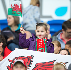 CARDIFF, WALES - Tuesday, August 21, 2014: Wales supporters before the FIFA Women's World Cup Canada 2015 Qualifying Group 6 match against England at the Cardiff City Stadium. (Pic by David Rawcliffe/Propaganda)