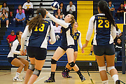 Milpitas senior Taylor Davis (16) bumps the ball over the net during a home game against Monta Vista High School on Sept. 10, 2012.  Milpitas would go on to lose in 4 sets, 7-25, 16-25, INSERT SCORE, 17-25.  Photo by Stan Olszewski/SOSKIphoto.