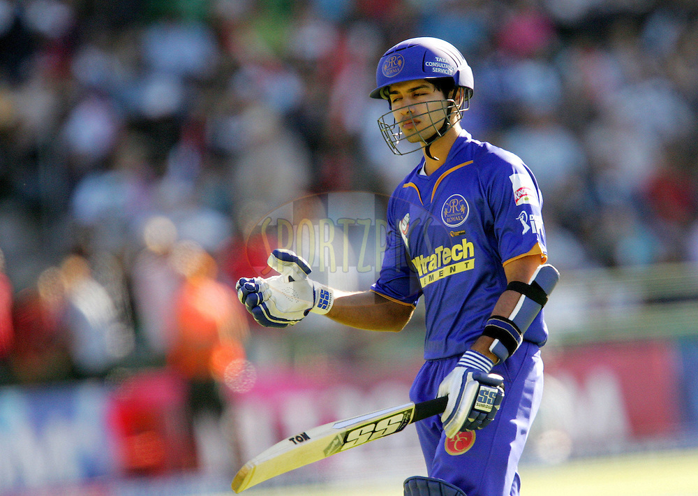 PORT ELIZABETH, SOUTH AFRICA - 02 May 2009. Naman Ohja leaves after being caught by Herschelle Gibbs during the  IPL Season 2 match between the Deccan Chargers and the Rajatshan Royals held at St Georges Park in Port Elizabeth , South Africa..