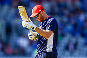 England T20 batsman Jonny Bairstow inspecting his bat during the warm up during the International T20 match between England and India at Old Trafford, Manchester, England on 3 July 2018. Picture by Simon Davies.