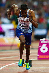 London, 2017 August 07. Zharnel Hughes, Great Britain, in the men's 200m heats on day four of the IAAF London 2017 world Championships at the London Stadium. © Paul Davey.
