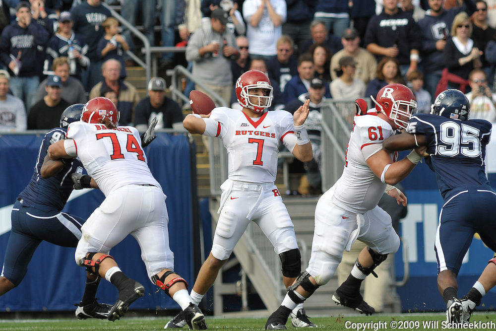 Oct 31, 2009; East Hartford, CT, USA; Rutgers quarterback Tom Savage (7) passes the ball during first half Big East NCAA football action between Rutgers and Connecticut at Rentschler Field.