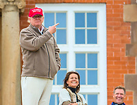 31/07/15 RICOH WOMEN'S BRITISH OPEN<br /> TRUMP TURNBERRY<br /> Donald Trump outside the Trump Turnberry Hotel