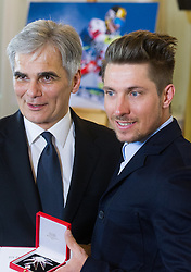 23.03.2016, Bundeskanzleramt, Wien, AUT, Überreichung des Großen Ehrenzeichens für Verdienste um die Republik Österreich an Marcel Hirscher, im Bild v.l.n.r. Bundeskanzler Werner Faymann (SPÖ) und Marcel Hirscher (AUT) // f.l.t.r. Federal Chancellor of Austria Werner Faymann and Austrian Skier Marcel Hirscher during awarding ceremony golden order of merit for services rendered to the Republic of Austria for Austrian ski racer Marcel Hirscher at federal chancellors office in Vienna, Austria on 2016/03/23, EXPA Pictures © 2016, PhotoCredit: EXPA/ Michael Gruber