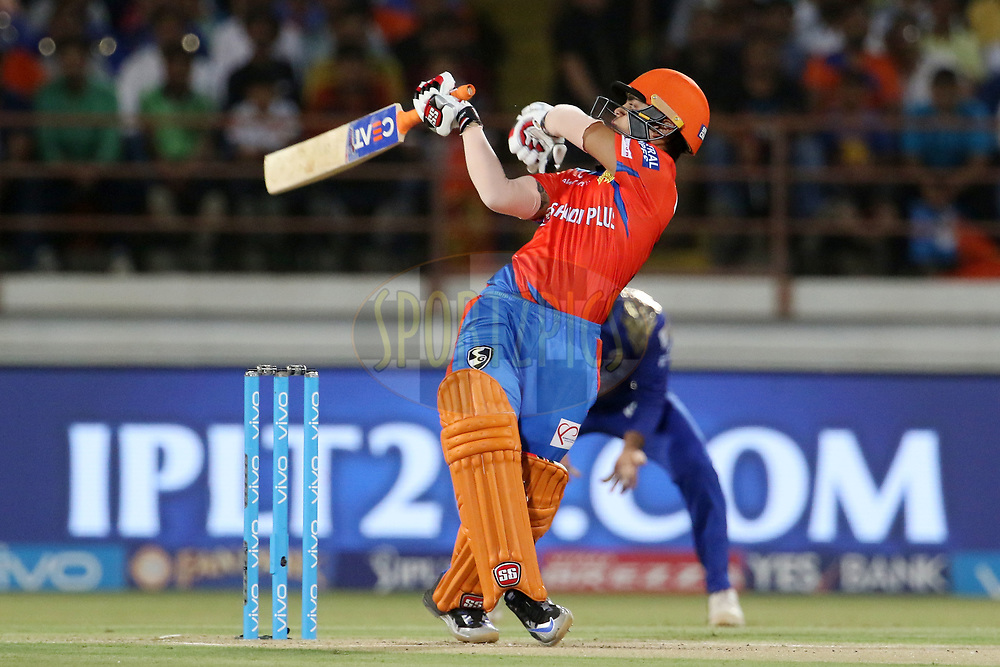 Ishan Kishan of the Gujarat Lions plays a shot during match 35 of the Vivo 2017 Indian Premier League between the Gujarat Lions and the Mumbai Indians  held at the Saurashtra Cricket Association Stadium in Rajkot, India on the 29th April 2017<br /> <br /> Photo by Vipin Pawar - Sportzpics - IPL