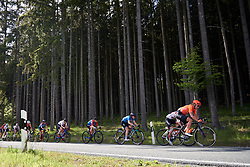 Lisa Klein (GER) and Gabrielle Pilote Fortin (CAN) in the bunch speeding along the treeline at Lotto Thüringen Ladies Tour 2019 - Stage 2, a 116 km road race in Schleiz, Germany on May 29, 2019. Photo by Sean Robinson/velofocus.com