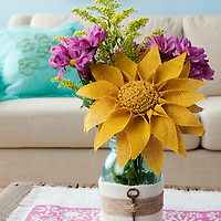 Burlap projects: Burlap-wrapped vase with burlap daisies and flowers