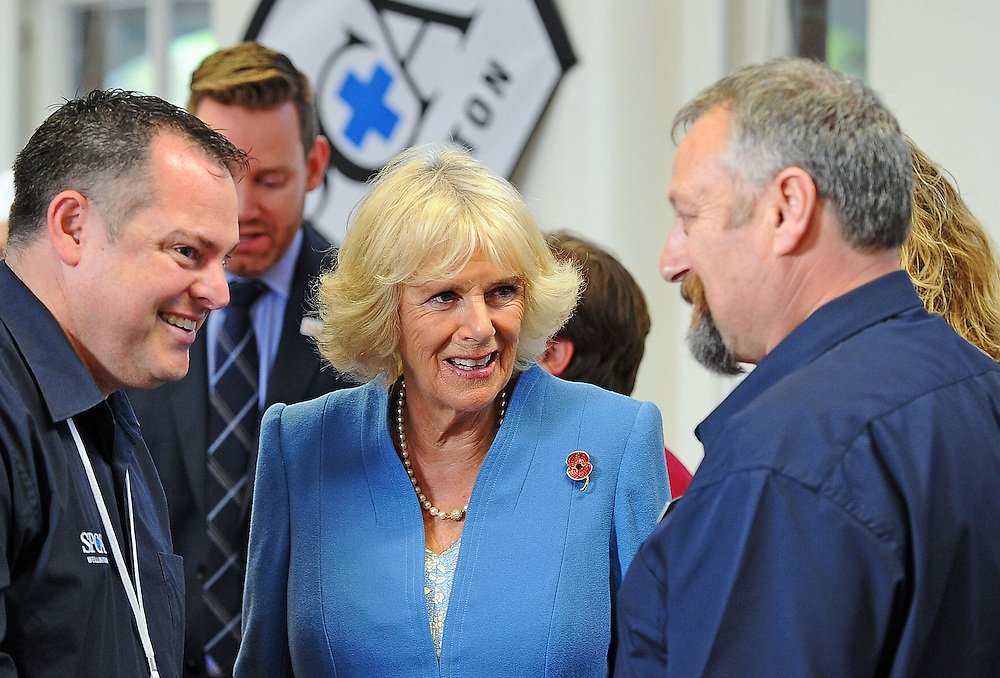 WELLINGTON, NEW ZEALAND - NOVEMBER 07:  HRH Camilla the Duchess of Cornwall speaks with staff and volunteers during her visit to the Wellington SPCA  on November 7, 2015 in Wellington, New Zealand. The Royal couple are on a 12-day tour visiting seven regions in New Zealand and three states and one territory in Australia.  (Photo by Mark Tantrum/Getty Images) *** Local Caption *** Camilla the Duchess of Cornwall