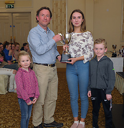 Westport Athletic Club Awards 2017<br /> Ashling Halpin -Fahy presented Fergus McAllister with the John Fahy memorial award, alongside cousins Little<br /> Pic Conor McKeown