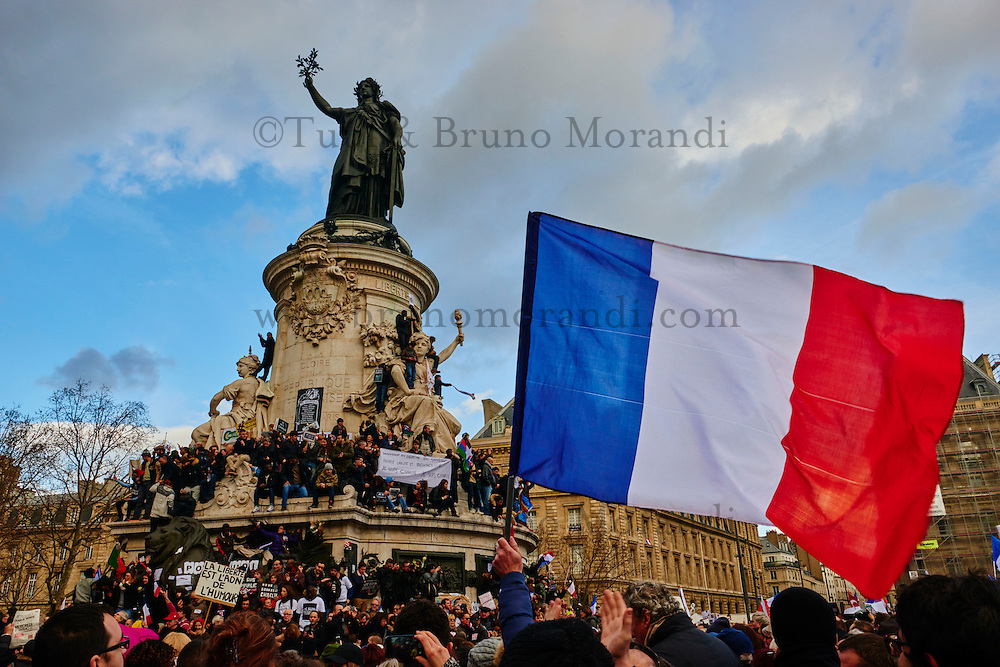 France, Paris, 11 january 2015 March for Charlie Hebdo, place de la République