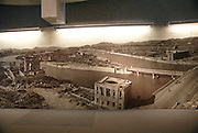 Japan, Hiroshima, Display in Hiroshima Peace Museum showing the city right after atom bomb explosion.