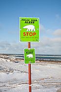 60595-01020 Polar Bear Alert sign near Hudson Bay in winter, Churchill MB Canada