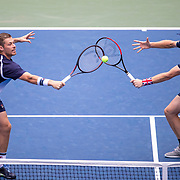 2019 US Open Tennis Tournament- Day Eleven.  Jamie Murray and Neal Skupski of Great Britain in action against Juan Sebastian Cabal and Robert Farah of Colombia in the Men's Doubles Semi-Finals match on Louis Armstrong Stadium during the 2019 US Open Tennis Tournament at the USTA Billie Jean King National Tennis Center on September 5th, 2019 in Flushing, Queens, New York City.  (Photo by Tim Clayton/Corbis via Getty Images)