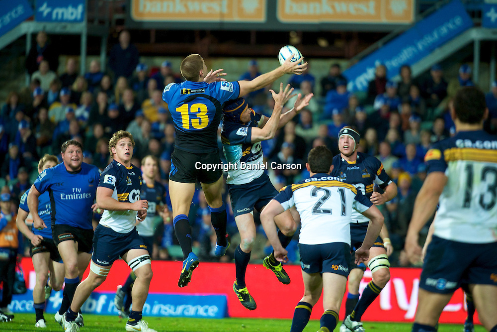 Rory Sidey flies high for the up and under ball. Western Force v ACT Brumbies. Super 15 Rugby Match. Perth, Western Australia, nib Stadium. Saturday 21st May 2011. Photo: Daniel Carson PHOTOSPORT