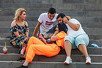 Gyumri , Armenia - August 15, 2019 : young people discussing in  Kalbasi Park landmark of Gyumri Shirak Armenia eastern Europe