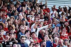 Bristol City fans celebrate after Famara Diedhiou scores a goal - Rogan/JMP - 14/09/2019 - Bet365 Stadium - Stoke, England - Stoke City v Bristol City - Sky Bet Championship.