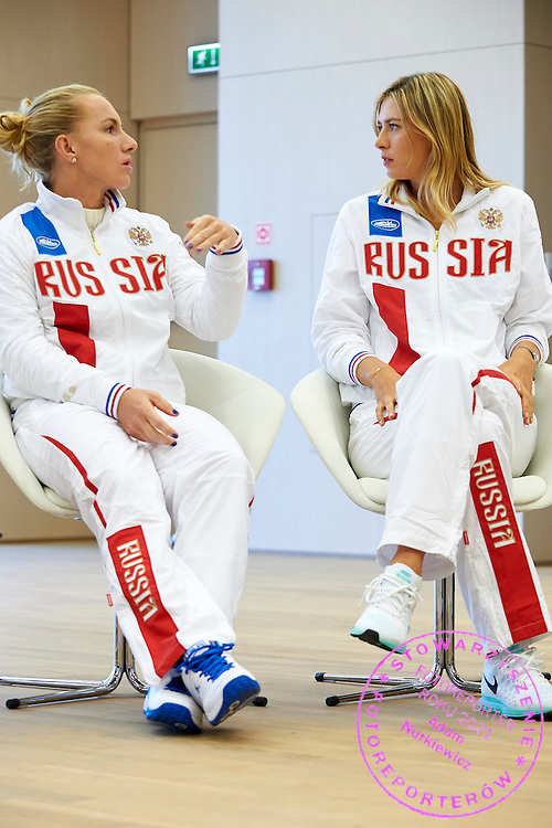 (L) Svetlana Kuznetsova and (R) Maria Sharapova both from Russia during official draw one day before the Fed Cup / World Group 1st round tennis match between Poland and Russia at Holiday Inn on February 6, 2015 in Cracow, Poland.<br /> <br /> Poland, Cracow, February 6, 2015<br /> <br /> Picture also available in RAW (NEF) or TIFF format on special request.<br /> <br /> For editorial use only. Any commercial or promotional use requires permission.<br /> <br /> Adam Nurkiewicz declares that he has no rights to the image of people at the photographs of his authorship.<br /> <br /> Mandatory credit:<br /> Photo by &copy; Adam Nurkiewicz / Mediasport