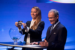 September 29, 2017 - Ljubljana, Slovenia, Slovenia - Tina Maze Slovenian ambassador of Futsal during Final Draw UEFA Futsal EURO 2018 on Ljubljana Castle on September 29, 2017 in Ljubljana, Slovenia. (Credit Image: © Damjan Zibert/NurPhoto via ZUMA Press)