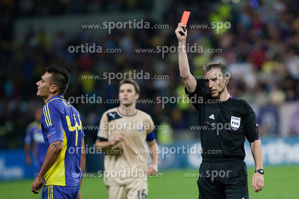 Referee David Fernandez Borbalan (Spain) shows Soares Bordignon Arghus #44 of Maribor a red card during Play-offs for Champions League between NK Maribor (Slovenia) and GNK Dinamo Zagreb (Croatia), on August 28, 2012, in Maribor, Slovenia. (Photo by Matic Klansek Velej / Sportida.com)