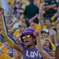 October 8, 2011; Baton Rouge, LA, USA;  A LSU Tigers fan in the stands during the fourth quarter against the Florida Gators at Tiger Stadium. LSU defeated Florida 41-11. Mandatory Credit: Derick E. Hingle-US PRESSWIRE / © Derick E. Hingle 2011