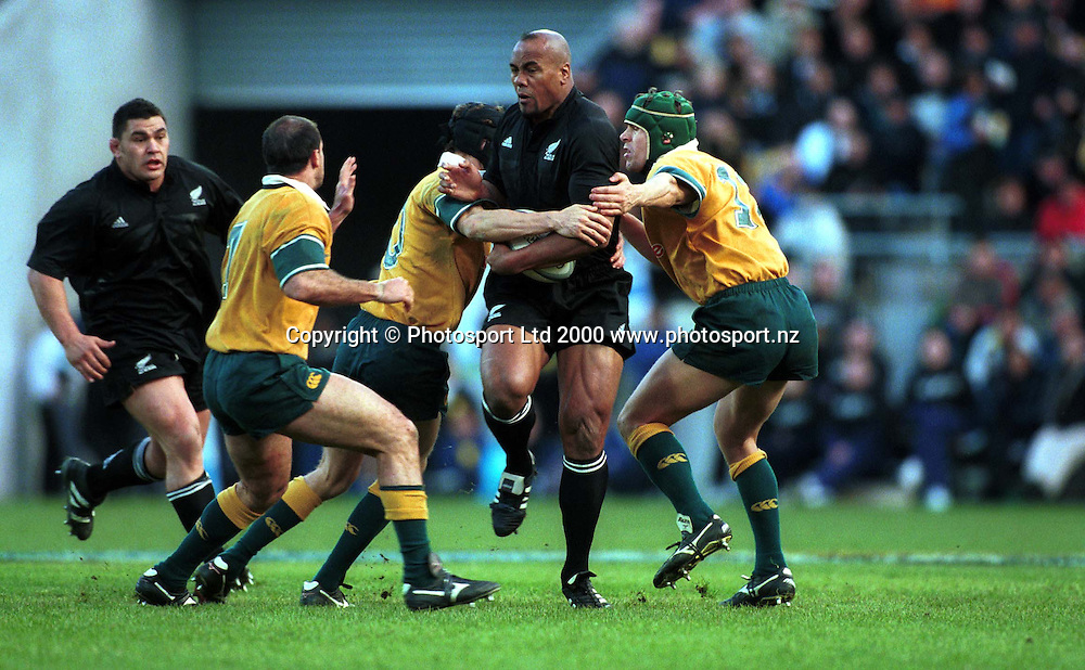 Jonah Lomu in action during the international rugby union match between the All Blacks and Australia at Athletic Park, Wellington, on August 5 2000. Photo: PHOTOSPORT