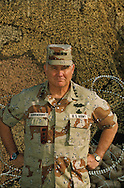 General Norman Schwarzkopf at his headquarters in Riyadh in September 1990. photograph made for a cover of TIME. Not used becasue the editors wanted the general in a hemut...Photograph by Dennis Brack bb 27
