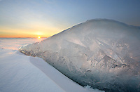 Winter Sunrise illuminates  Ice Formation on Lake Ontario Canada