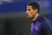 Derby County defender Curtis Davies (33) warms up prior to the EFL Cup 4th round match between Chelsea and Derby County at Stamford Bridge, London, England on 31 October 2018.