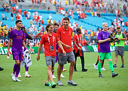 CHARLOTTE, USA - Sunday, July 22, 2018: Liverpool's Lazar Markovic and Marko Grujic after a preseason International Champions Cup match between Borussia Dortmund and Liverpool FC at the  Bank of America Stadium. (Pic by David Rawcliffe/Propaganda)