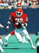 New Jersey Generals running back Maurice Carthon (33) runs the ball during the USFL football game against the Michigan Panthers in East Rutherford, N.J. on April 29, 1984. The Generals won the game 31-21. (©Paul Anthony Spinelli)
