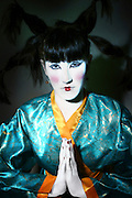 Female Model with Kimono Japanese style dress and make up