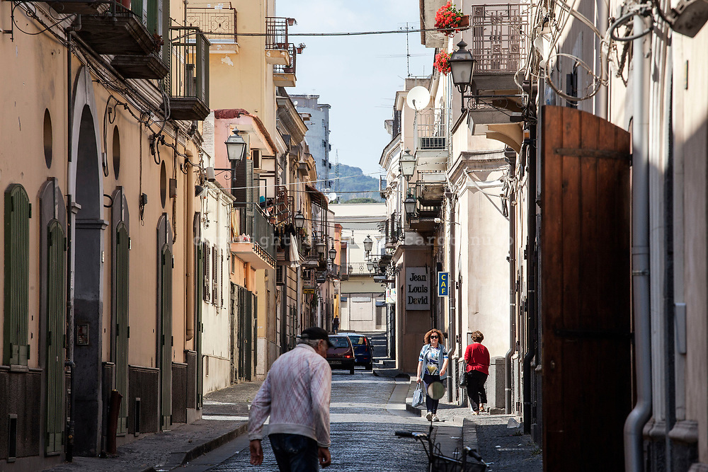 29 May 2017, Boscoreale, Naples Italy - A street in the old town of village of Boscoreale located in the red zone instituted by Italian Government for the national evacuation plan in case of eruption of the Vesuvio.