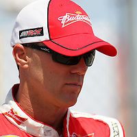NASCAR Sprint Cup driver Kevin Harvick (29) is seen in the garage area during the NASCAR Coke Zero 400 Sprint practice session at the Daytona International Speedway on Thursday, July 4, 2013 in Daytona Beach, Florida.  (AP Photo/Alex Menendez)