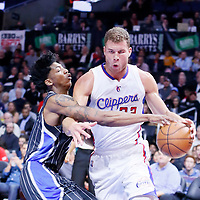 03 December 2014: Los Angeles Clippers forward Blake Griffin (32) drives past Orlando Magic guard Elfrid Payton (4) during the Los Angeles Clippers 114-86 victory over the Orlando Magic, at the Staples Center, Los Angeles, California, USA.