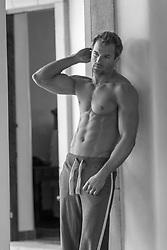 hot shirtless man at home
