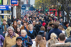 London, December 12th 2015. Tens of thousands of shoppers descend on London's west end as retailers keep prices low to encourage volume sales in the run-up to Christmas. PICTURED:  Shoppers on Oxford Street. ///FOR LICENCING CONTACT: paul@pauldaveycreative.co.uk TEL:+44 (0) 7966 016 296 or +44 (0) 20 8969 6875. ©2015 Paul R Davey. All rights reserved.