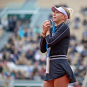 PARIS, FRANCE June 07.  Amanda Anisimova of the United States reacts during her loss against Ashleigh Barty of Australia on Court Suzanne Lenglen during the Women's Singles Semifinals match at the 2019 French Open Tennis Tournament at Roland Garros on June 7th 2019 in Paris, France. (Photo by Tim Clayton/Corbis via Getty Images)