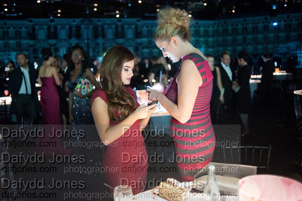 RACHEL SHENTS; BRONAGH WAUGH, Grey Goose Winter Ball to Benefit the Elton John AIDS Foundation. Battersea park. London. 29 October 2011. <br /> <br />  , -DO NOT ARCHIVE-© Copyright Photograph by Dafydd Jones. 248 Clapham Rd. London SW9 0PZ. Tel 0207 820 0771. www.dafjones.com.