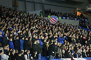 Ipswich fans throw a beech ball during the Sky Bet Championship match between Brighton and Hove Albion and Ipswich Town at the American Express Community Stadium, Brighton and Hove, England on 29 December 2015. Photo by Phil Duncan.