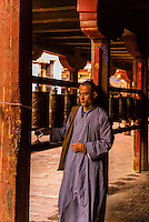 A Chinese monk circumambulating the Samye Monastery, Chatang, Lhoka (Shannan) Prefecture, Tibet (Xizang), China