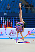 Whelan Carmen during qualifying at ribbon in Pesaro World Cup at Adriatic Arena on April 11, 2015. Carmen was born on August 31,1998 in Markham. She is a Canadian individual rhythmic gymnast.